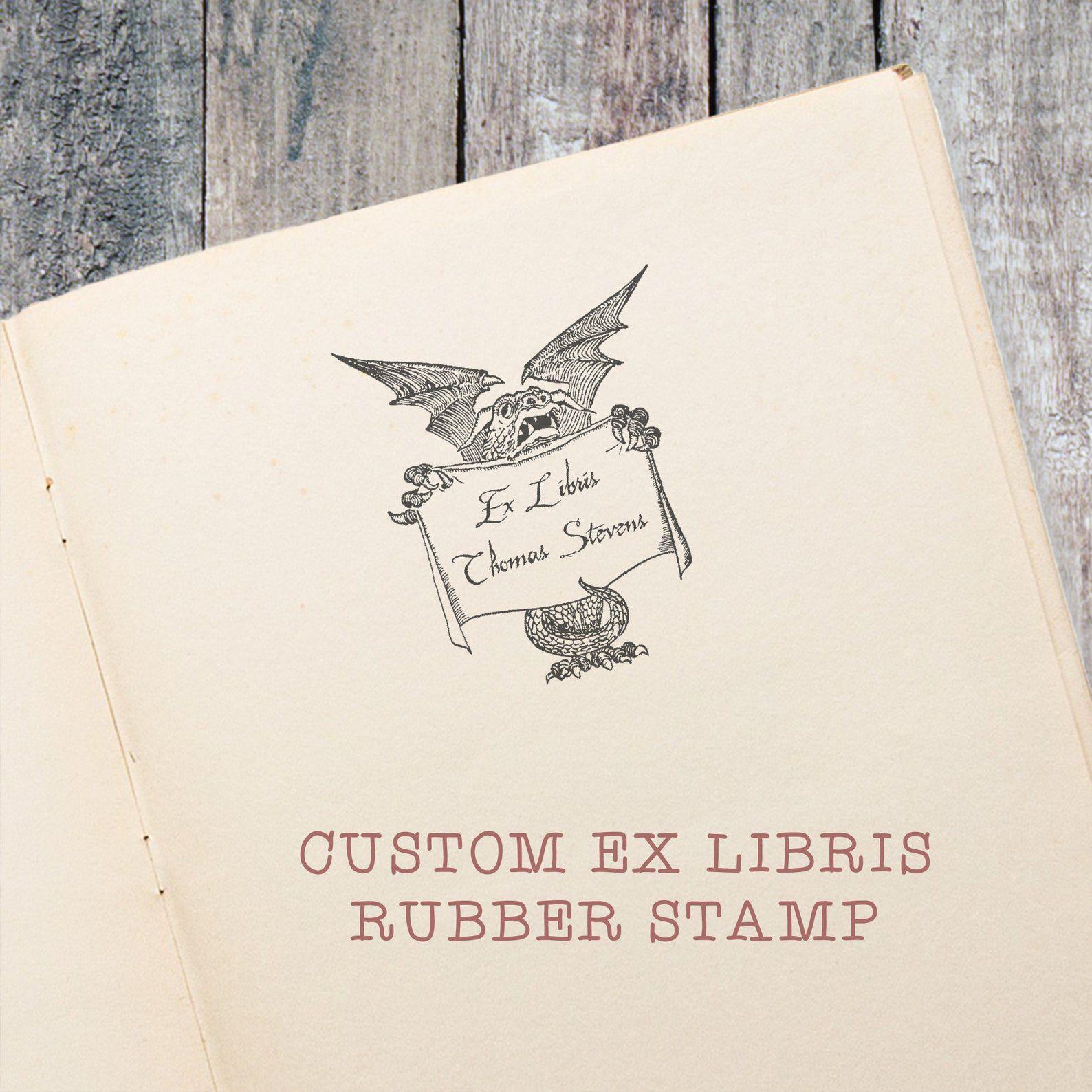 Dragon ex libris stamp.