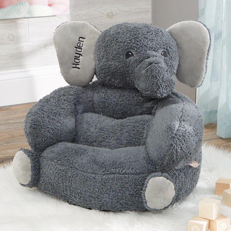 fuzzy elephant-shaped kid chair