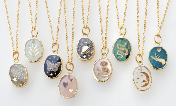 picture of engraved gemstone necklaces