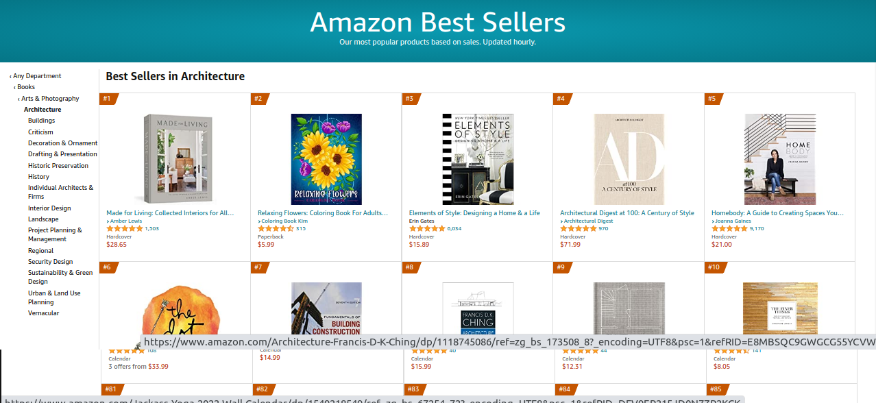 The Architecture bestsellers on Amazon.com.