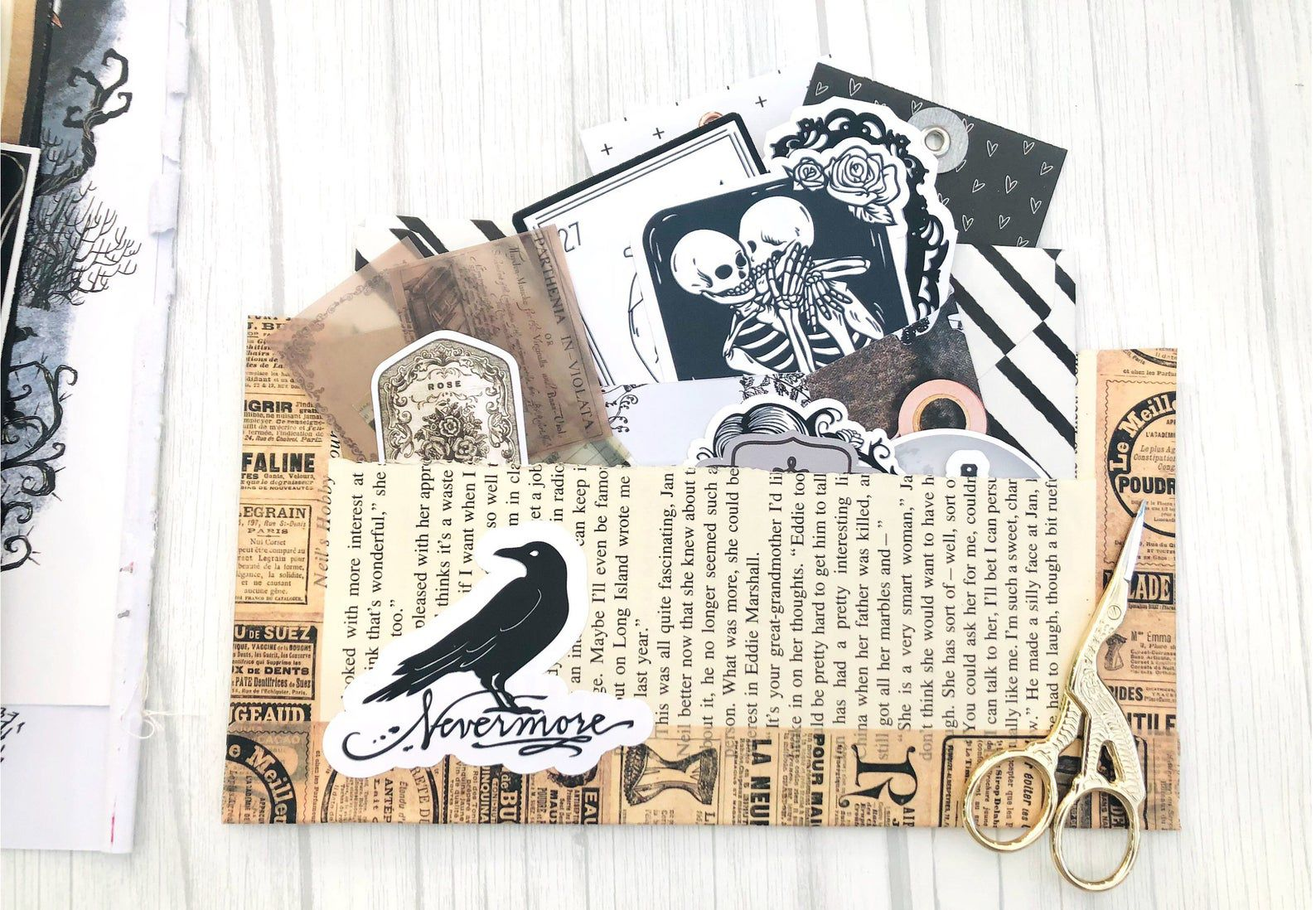 Image of gothic ephemera, including ravens, skulls, and vintage paper.
