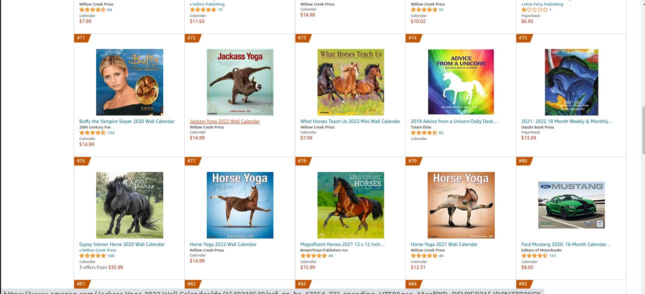 A screenshot of the Amazon Horse Calendar category