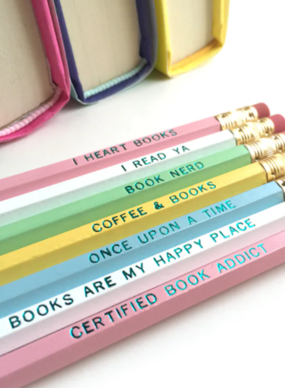 image of book lovers pencil set for kid's reading nooks