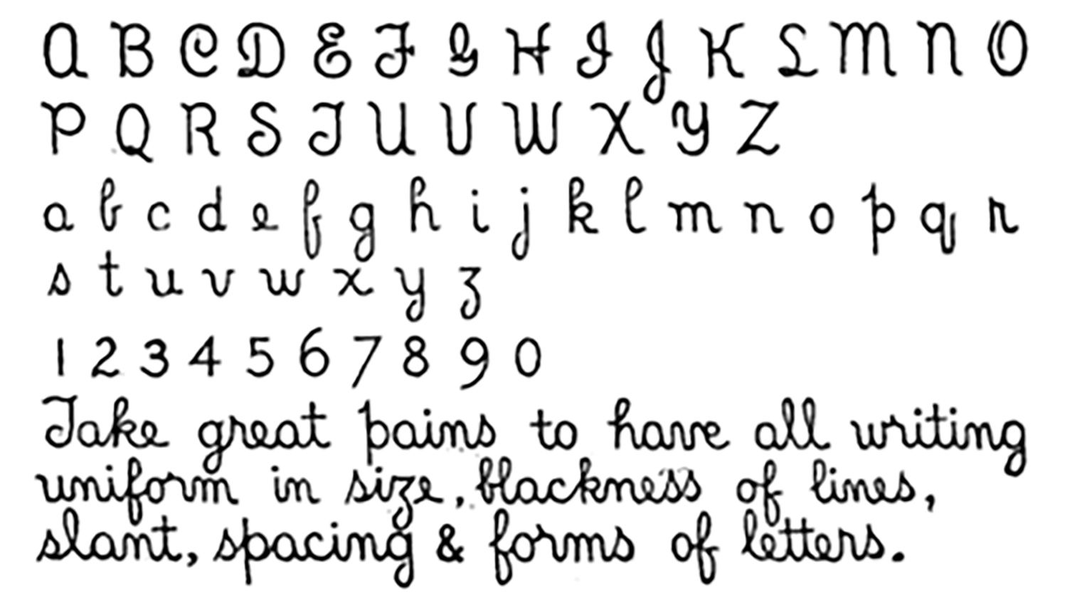 Image of letters and numbers of the original library hand.