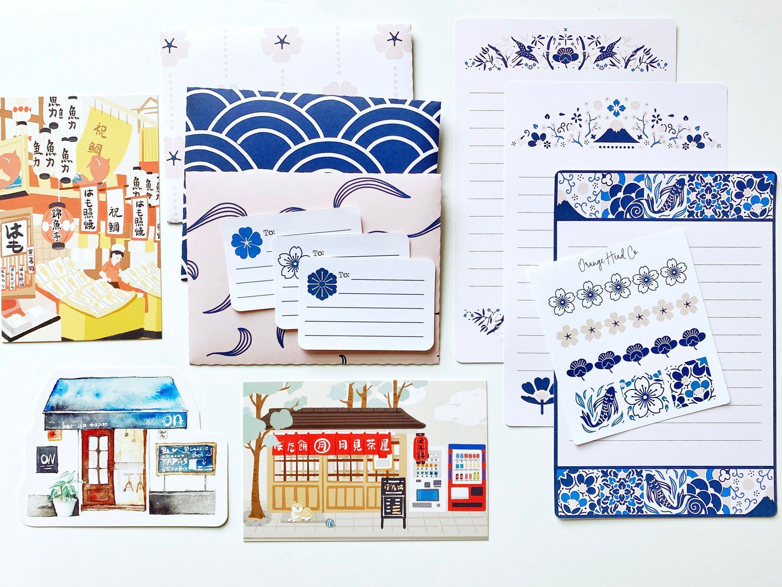 Bright colored stationary kit, featuring images from Japan.