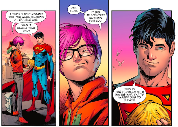 Three panels from Superman: Son of Kal-El #2 showing Jon and Jay talking on a roof. Jay is holding a blond wig.  Panel 1:  Jay: I think I understand why you were wearing a terrible wig.  Jon: Was it really that bad?  Panel 2:  Jay: Oh, yeah. It did absolutely nothing for you.  Panel 3:  Jon: This is the problem with having hair that's impervious to bleach.