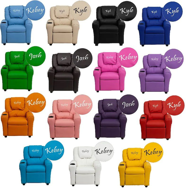 collection of different colored kids armchairs embroidered with names on headrests