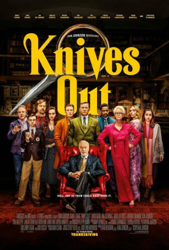 movie poster for the 2019 film Knives Out, featuring the whole cast standing under the title