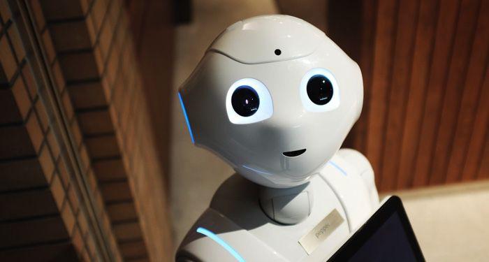 a high-angle photo of a white robot