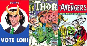 collage of three comics covers featuring the character Loki