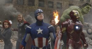 still frame from The Avengers film featuring Black Widow, Thor, Captain America, Iron Man, Hawkeye, and The Hulk