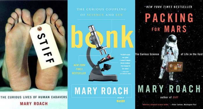 3 covers of Mary Roach books