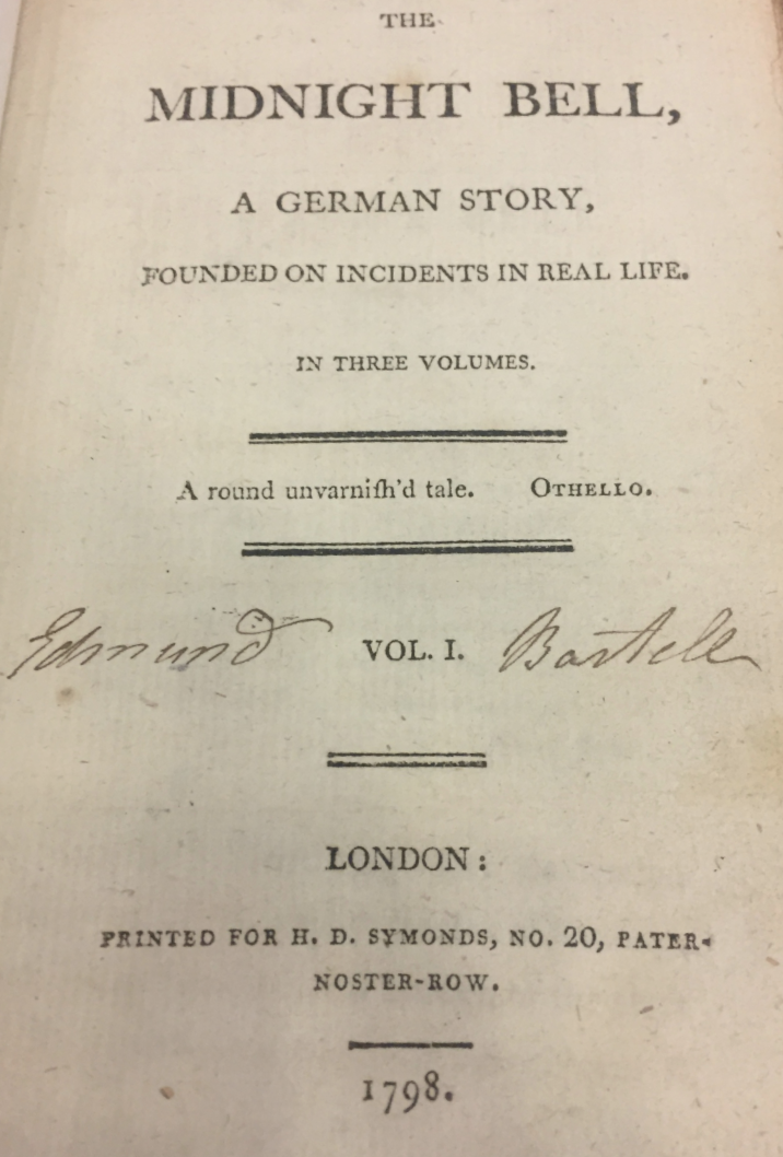 title page of The Midnight Bell, a German Story, Founded on Incidents in Real Life
