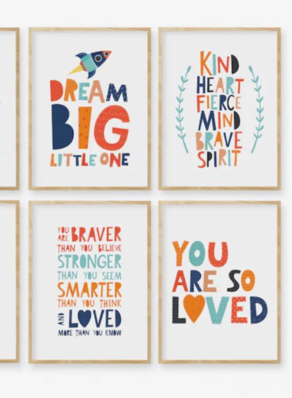 motivational wall art for kid's reading nooks