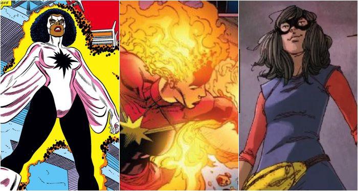 collage of images of Monica Rambeau, Carol Danvers, and Kamala Khan taken from comics panels