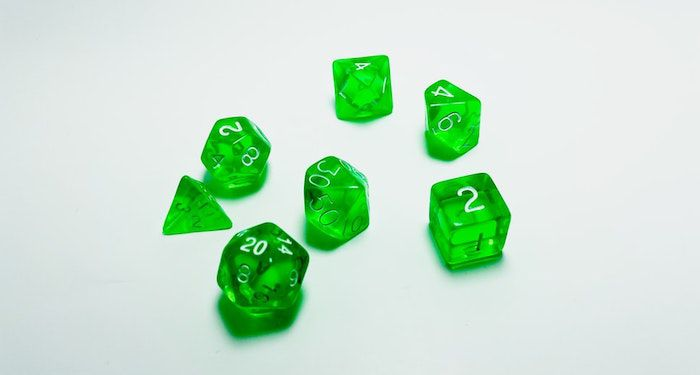 Image of green multi-sided dice