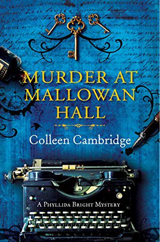 cover of Murder at Mallowan Hall, featuring an old fashioned typewriter in front of a blue backgrouond with a gold sekeleton key hanging over it