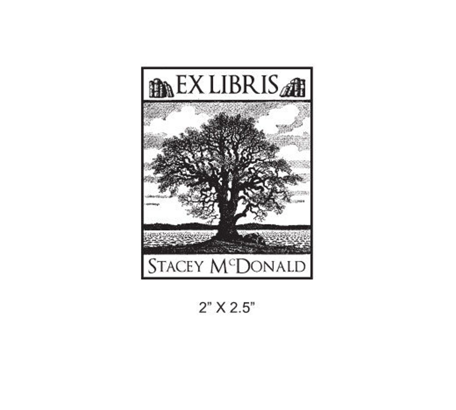 Image of ex libris stamp with oak tree