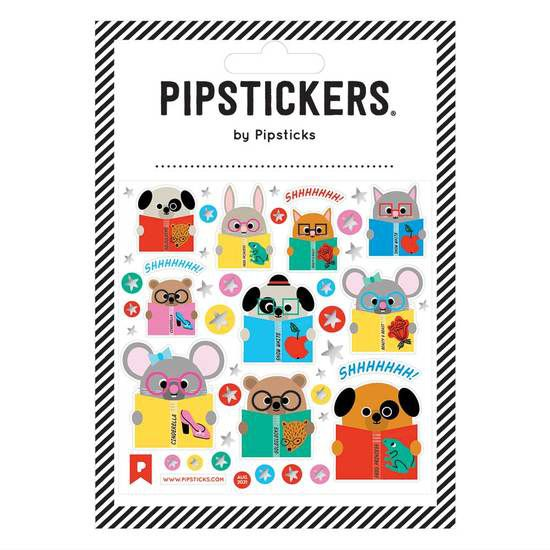 a sheet of stickers depicting cartoon animals reading