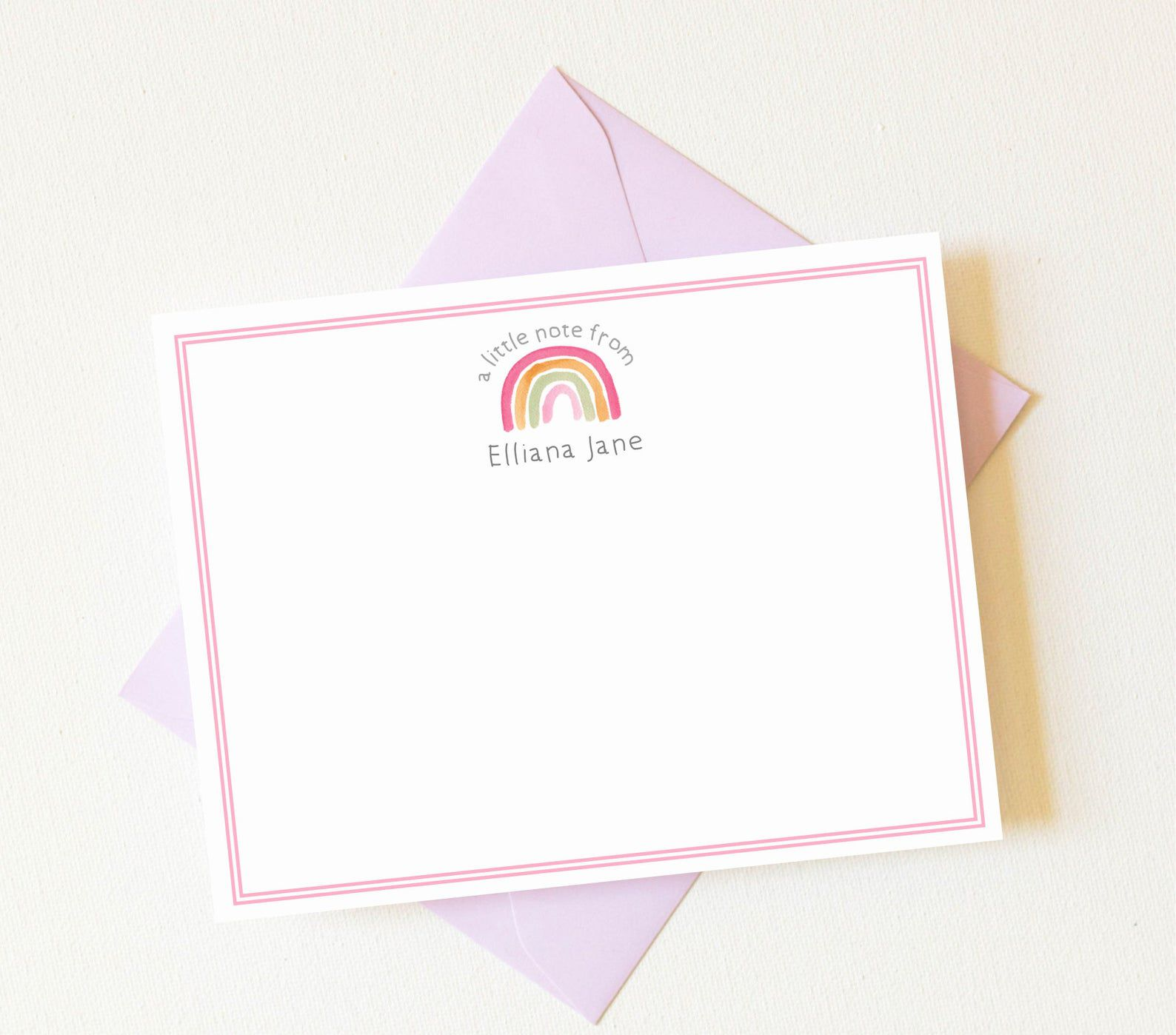 Notecard with small rainbow.
