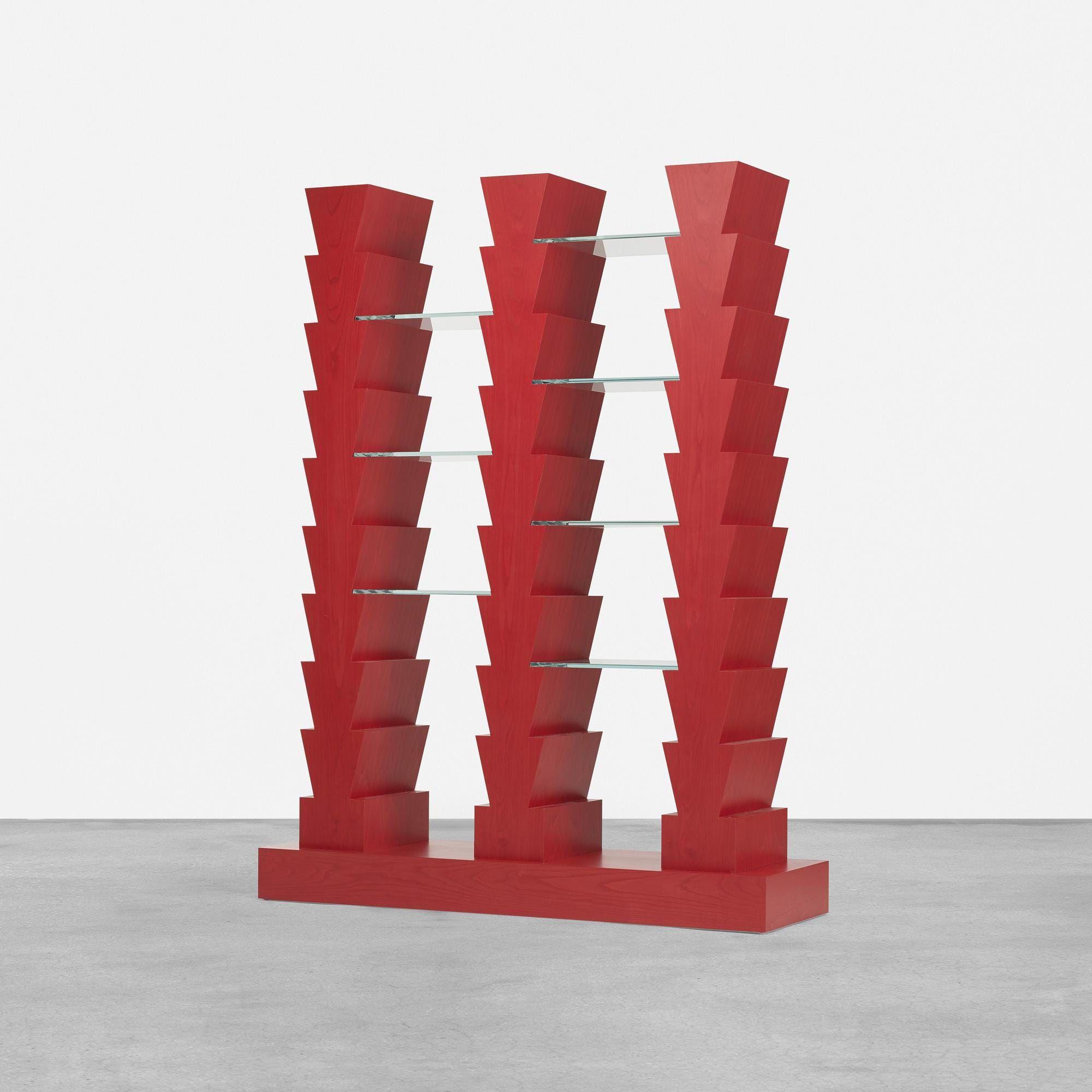 red stacked bookshelves