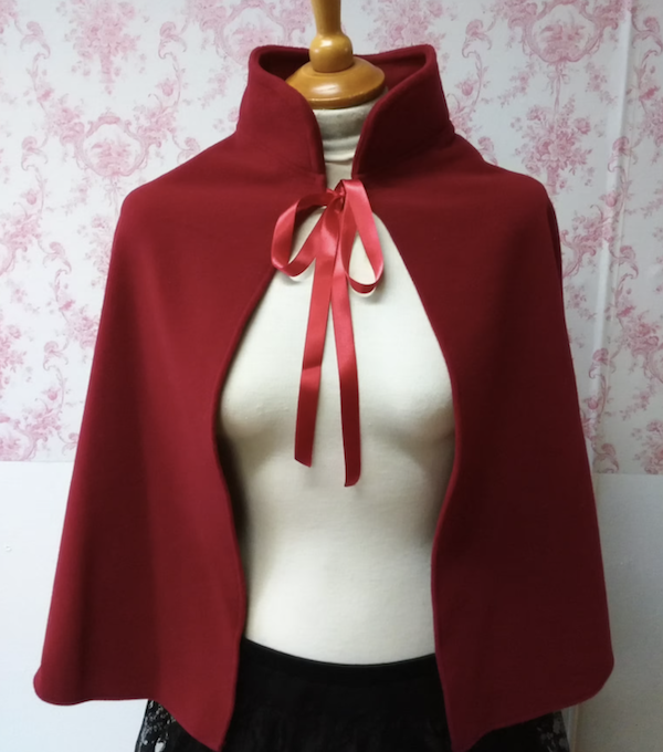 red wool-blend capelet