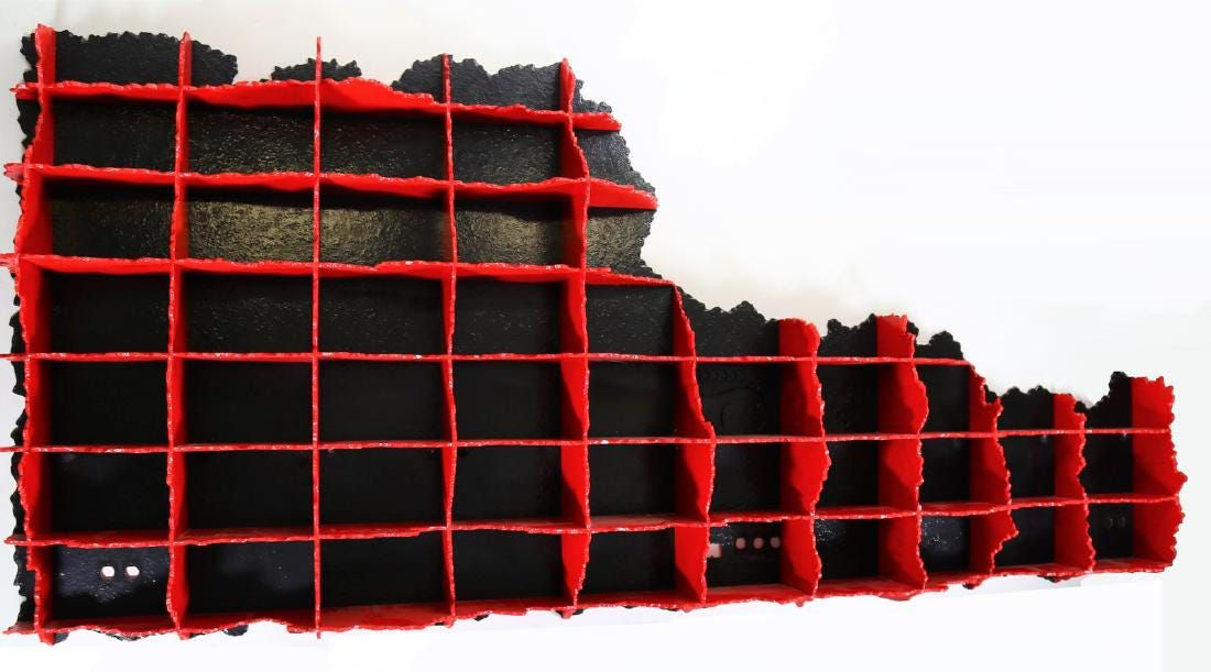 rugged red bookcase