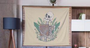 Banner showing a skeleton hugging a book