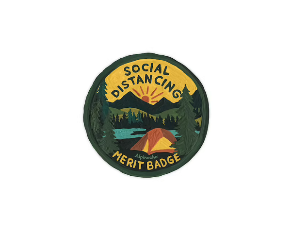 A sticker made to look like a Scout Merit Badge.  Includes a small tent pitched by the water's edge and the words