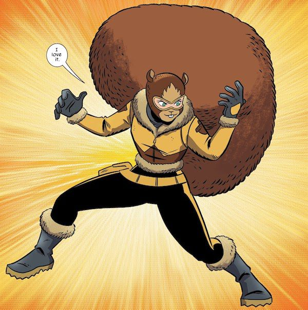 A panel from The Unbeatable Squirrel Girl #43. Doreen is wearing  black leggings, a yellow and brown fur-lined jacket with acorns on the shoulders, gray gloves, gray fur-lined boots, and a brown balaclava with a squirrel face and ears on it.  Doreen: I love it.