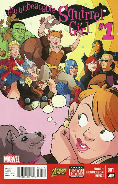 The cover of The Unbeatable Squirrel Girl #1 (first series). It's a closeup of Doreen and her squirrel friend Tippy Toe daydreaming about being carried in triumph by the Avengers, including the Hulk, Captain Marvel, Thor, Captain America, Black Widow, Hawkeye, and Iron Man.  Doreen wears a light brown, apparently strapless bathing suit trimmed with fur over gray tights. She has accessorized with a headband with squirrel ears, acorn earrings, a dark brown, fleece-lined bomber jacket with the sleeves pushed up to her elbows, a yellow utility belt, and light brown, fur-lined boots.