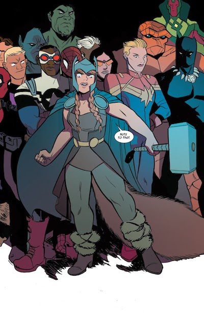 A page from the graphic novel The Unbeatable Squirrel Girl Beats Up the Marvel Universe. Doreen stands in front of a crowd of superheroes including Deadpool, Hawkeye, Beast, Hulk, Falcon, Spider-Man, Storm, Spider-Woman, Captain Marvel, Thing, Vision, and Black Panther.  Doreen is holding Thor's hammer and wearing an Asgardian-esque outfit, including a metal helmet, a gray cape, a brown leotard over gray tights, brown boots with more fur than usual, and some kind of dark brown half skirt/capelet thing held on with a gold belt. Her hair is longer than usual and in two braids.  Doreen: Nuts to that.