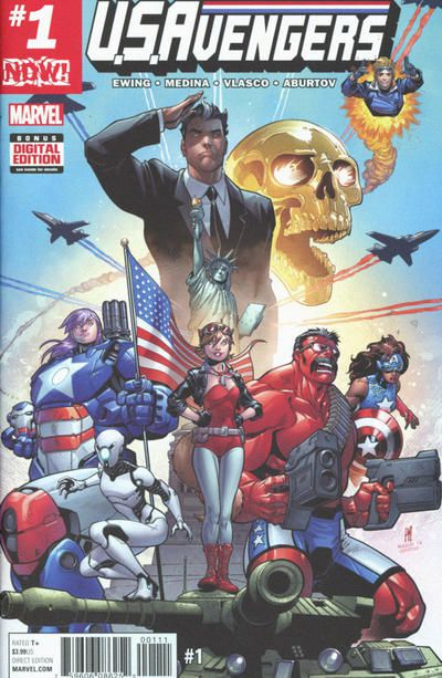 The cover to U.S.Avengers #1, featuring Doreen at the center and a lot of military/patriotic imagery (a flag, a tank, fighter jets, etc.). Also on the cover are Red Hulk, Cannonball, Enigma, Iron Patriot, and Danielle Cage.  Doreen's usual suit and boots are red instead of brown, and her jacket is a black leather one. She is also wearing red goggles pushed up on her head and a flag-themed neckerchief.
