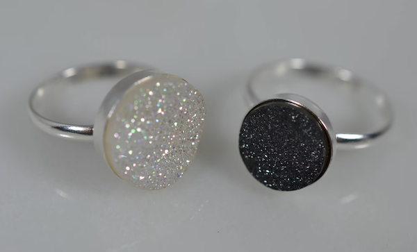 picture of sterling silver druzy quartz rings