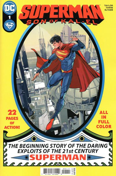 """The cover of Superman: Son of Kal-El #1, showing Jon Kent, an 18-year-old who strongly resembles Clark Kent, wearing a Superman costume and flying over Metropolis. The cover is designed to resemble the original Superman #1 and includes the title as well as the following text: """"22 pages of action! All in full color. The beginning story of the daring exploits of the 21st century SUPERMAN."""""""