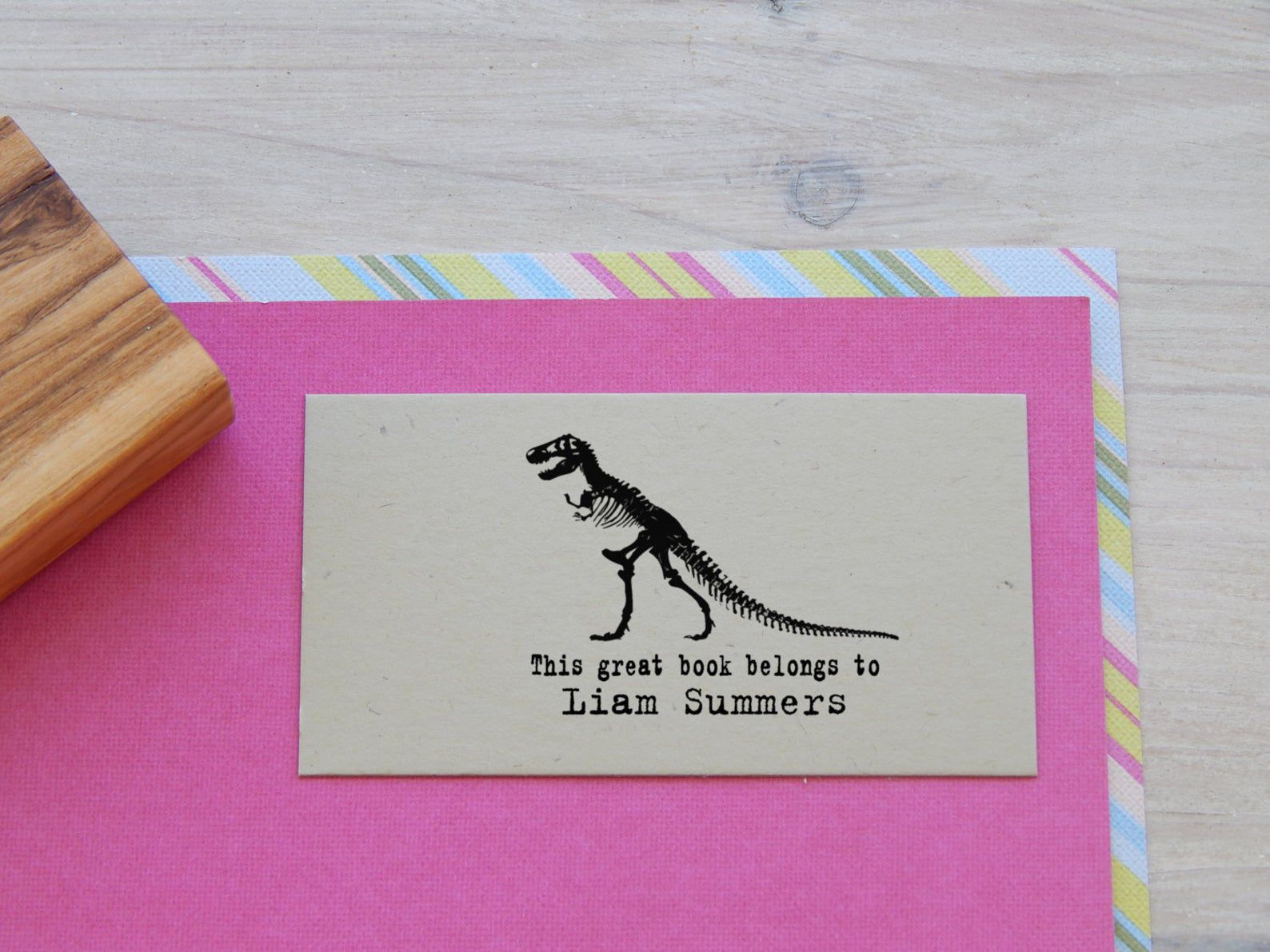 t-rex ex libris stamp