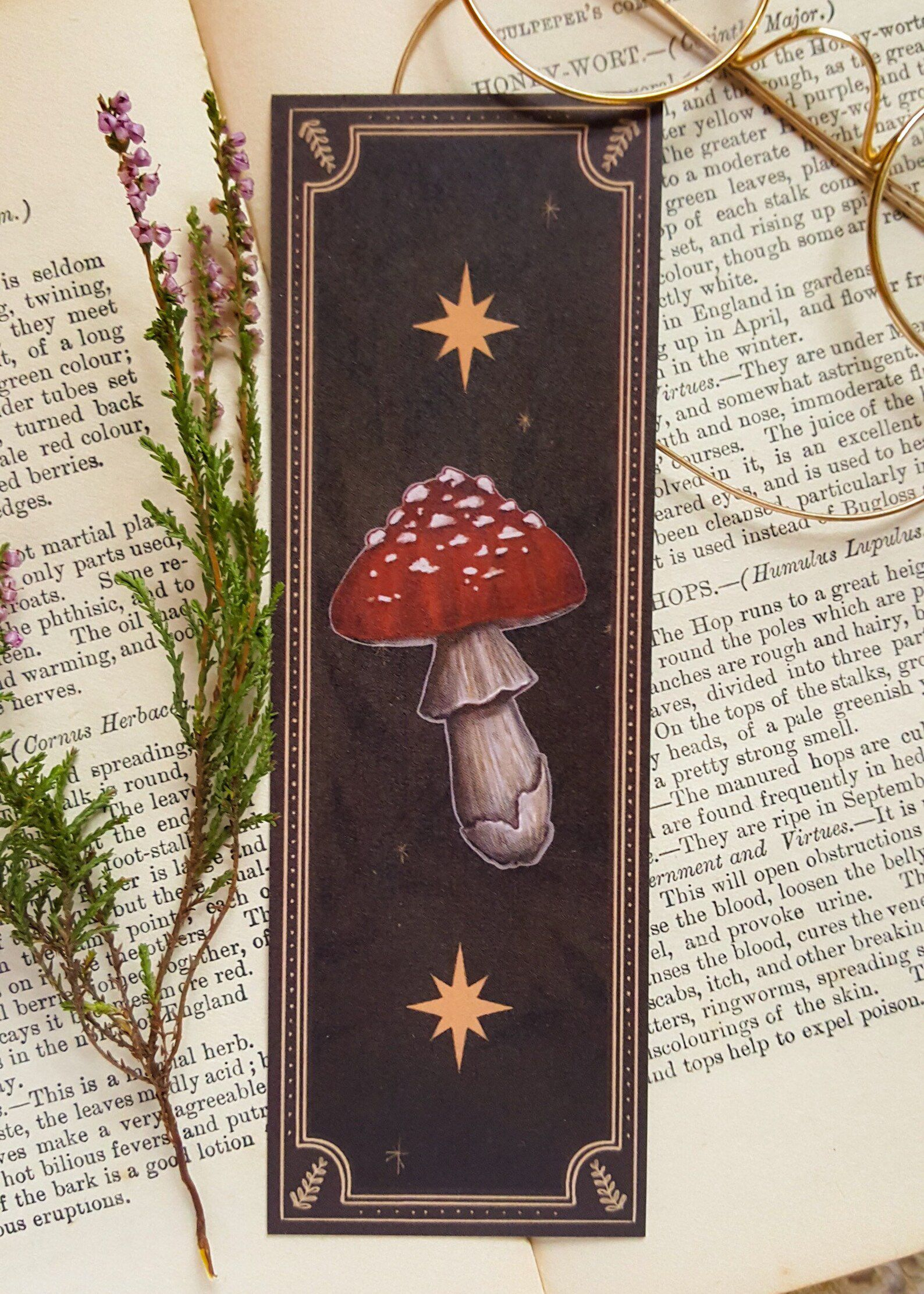 Image of a red mushroom on a black bookmark with leaves and stars.