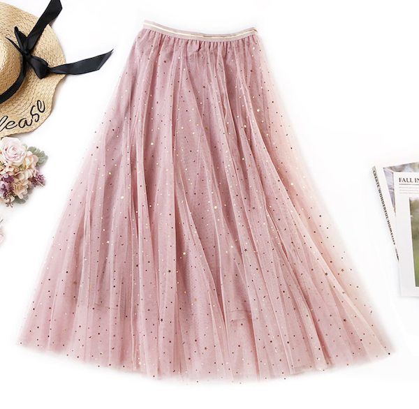 picture of tulle skirt with metallic stars and moons
