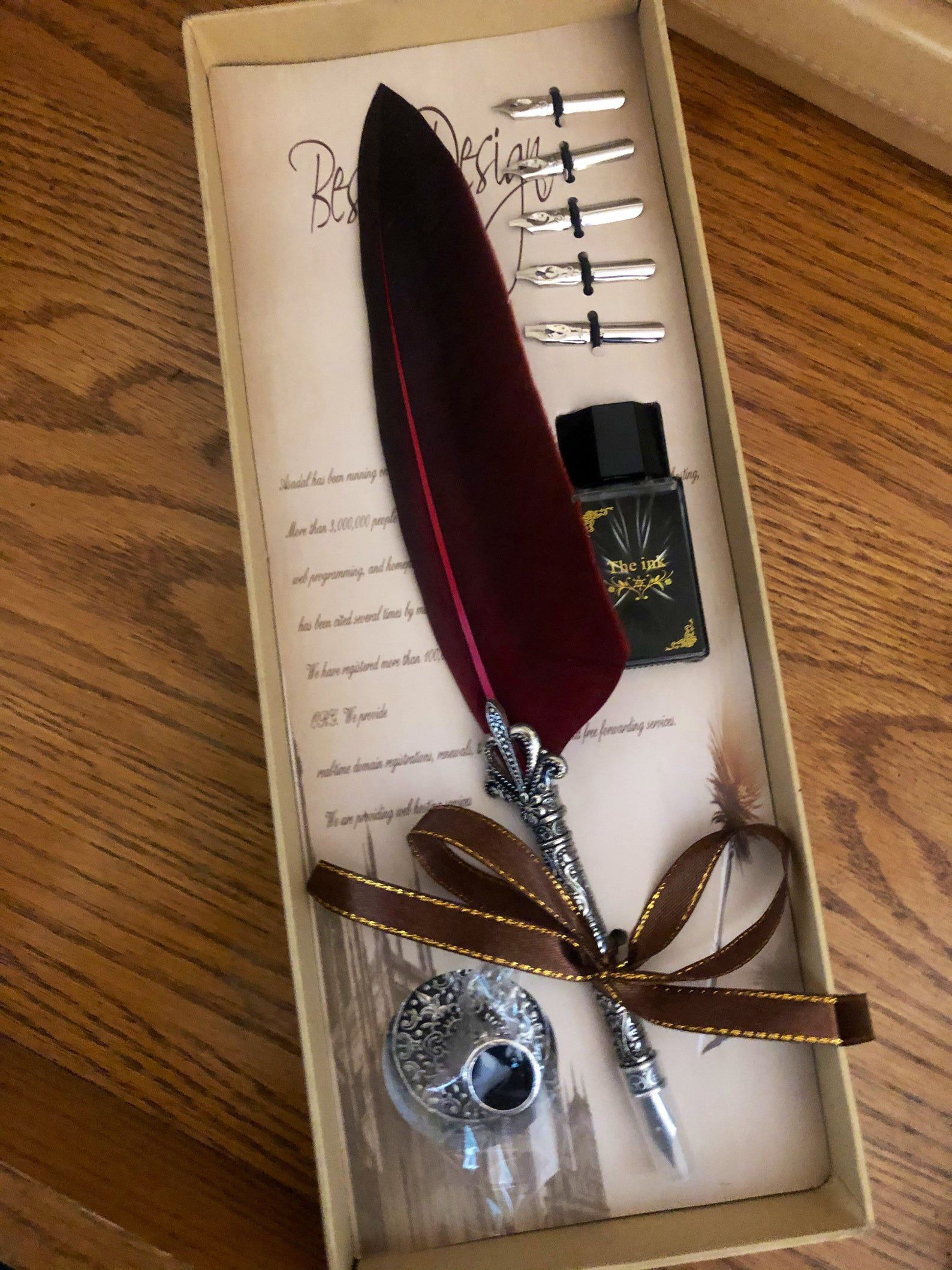Image of stationary kit with feather pen and nibs.