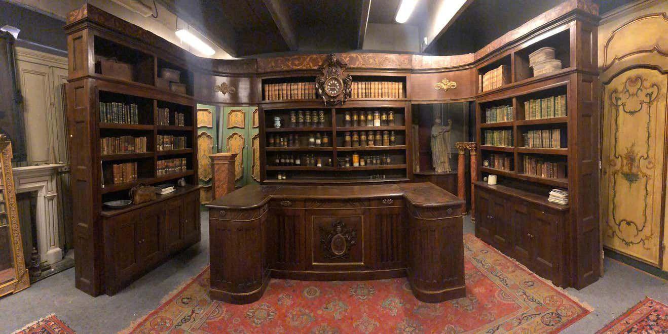 walnut pharmacy bookshelves