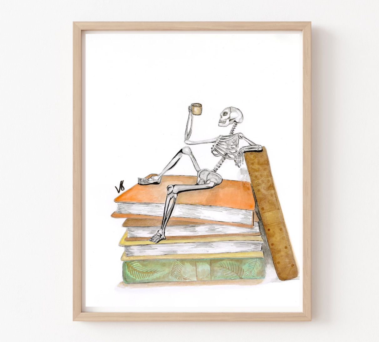 Image of a print featuring a skeleton with a cup of coffee on top of a stack of old books.