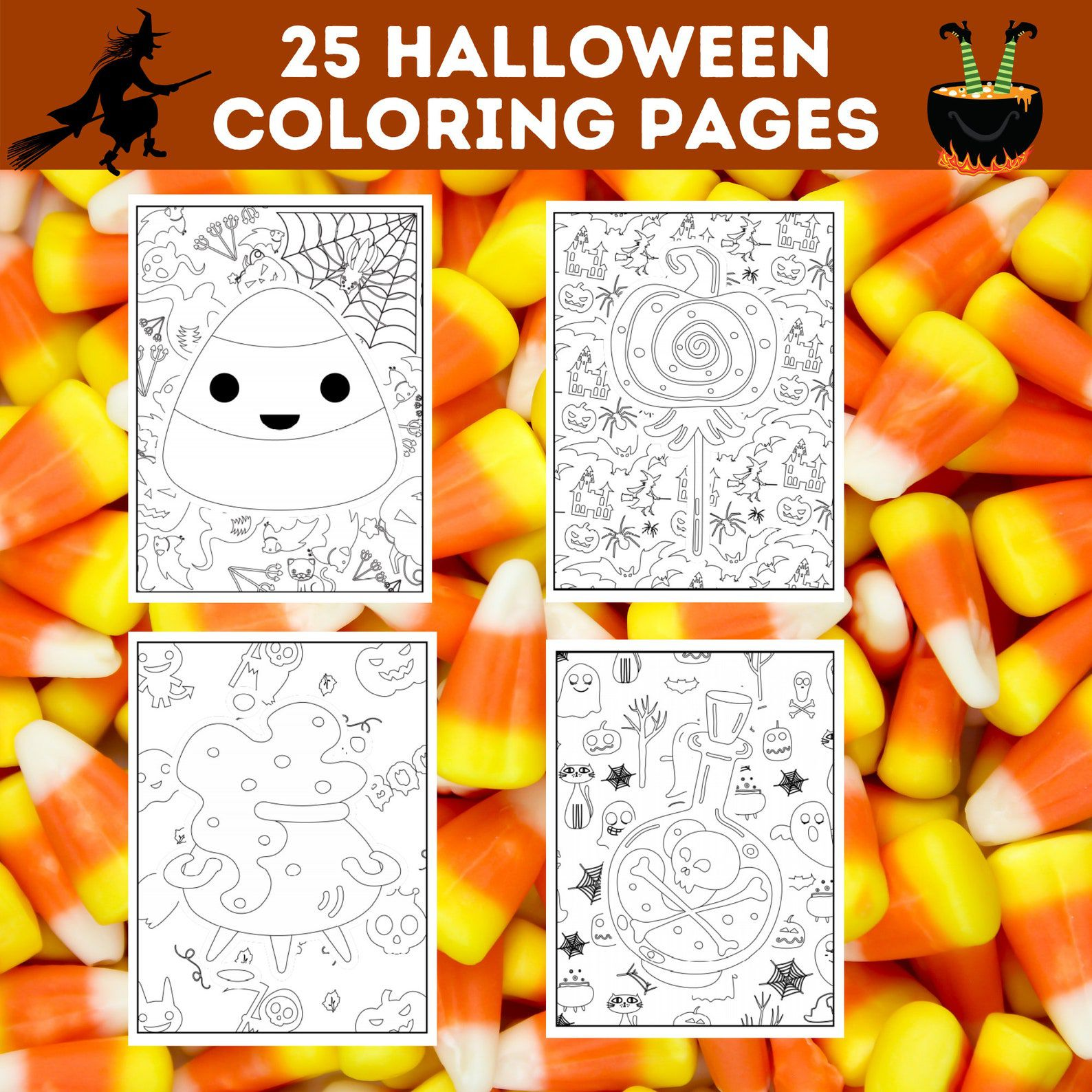 Candy corn and witch's pot coloring pages