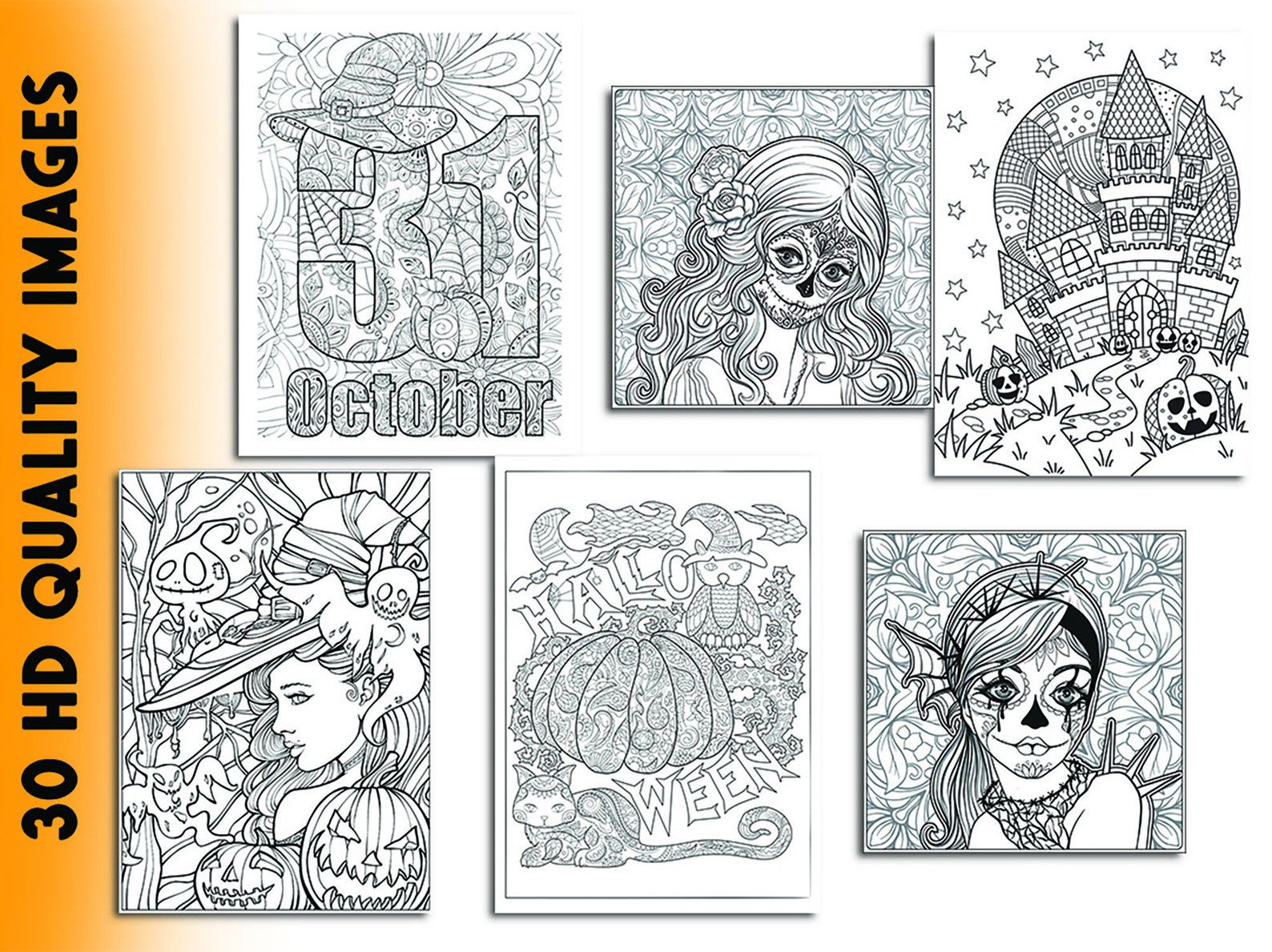 30 halloween coloring pages for adults