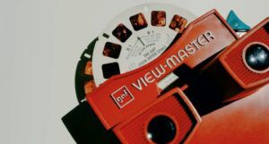 Red VIEW-MASTER from the 80's on white background