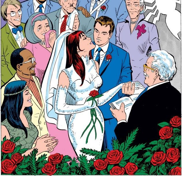 From The Amazing Spider-Man Annual #21. Peter Parker and Mary Jane Watson marry in front of their friends and relatives.