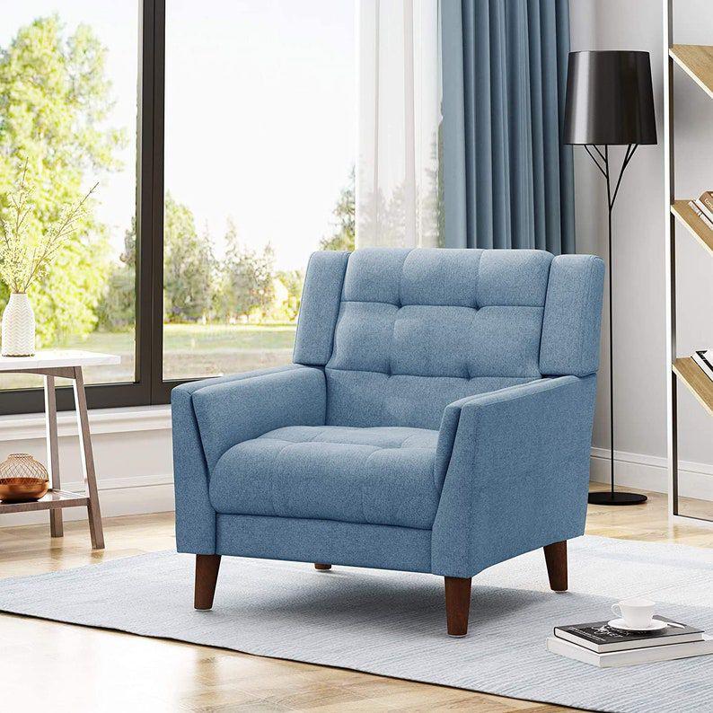 blue Mid Century Modern Fabric Arm Chair