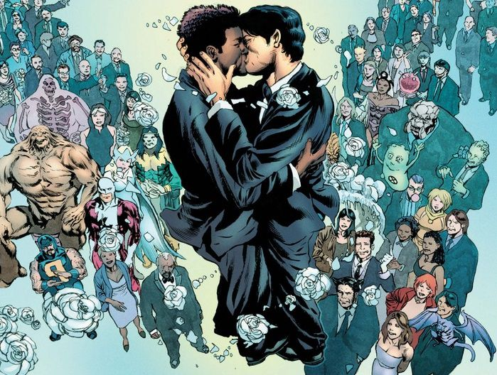 From Astonishing X-Men #51. Northstar and Kyle Jinadu float in the air and kiss high above the guests at their wedding.
