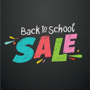 """Colorful text that reads """"Back to school sale"""""""