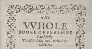 Title page of the copy of the Bay Psalm Book held by the Beinecke Rare Book and Manuscript Library