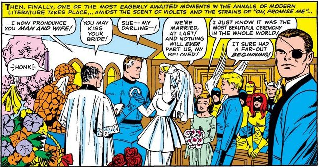 From Fantastic Four Annual #3. Reed Richards and Sue Storm are married as all of their superhero friends look on.